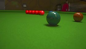On a billiard table stand with coloured glasses of alcohol. Billiards, balls and stack Royalty Free Stock Photos