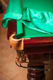 Billiard table under cloth cover with open pocket Stock Image