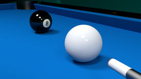 Billiard table with the white ball and the black eight Royalty Free Stock Photo