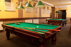 Billiard tables. In a hotel pub Royalty Free Stock Images