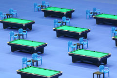 Billiard tables with green cloth Royalty Free Stock Image
