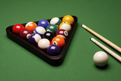 Billiard Time!. Billiard balls, cue and other! Sport time Stock Photo