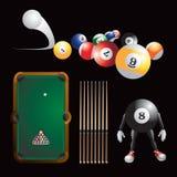 Billiard time. Billiard balls, eight ball cartoon man, billiard table, and sticks on black background Royalty Free Stock Photos