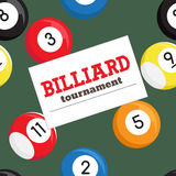 Billiard tournament poster vector template.  Royalty Free Stock Photography