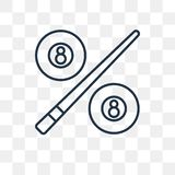 Billiard vector icon isolated on transparent background, linear stock illustration
