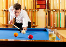 Billiard winner handsome man playing Stock Images