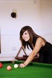 Billiard woman Stock Photography