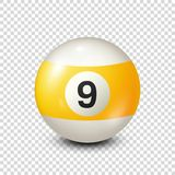 Billiard,yellow pool ball with number 9.Snooker. Transparent background.Vector illustration. Billiard,yellow pool ball with number 9.Snooker. Transparent royalty free illustration