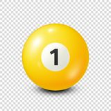 Billiard,yellow pool ball with number 1.Snooker. Transparent background.Vector illustration. Billiard,yellow pool ball with number 1.Snooker. Transparent stock illustration