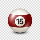 Billiard,yellred ow pool ball with number 15.Snooker. Transparent background.Vector illustration. Billiard,yellred ow pool ball with number 15.Snooker stock illustration