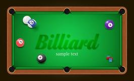 Billiardaffisch Illustration för bakgrund för pöltabell med billiardbollar och billiardkrita Royaltyfri Foto