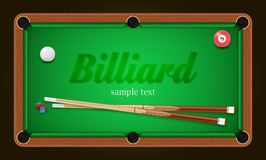 Billiardaffisch Illustration för bakgrund för pöltabell med billiardbollar och billiardkrita och stickreplik Royaltyfria Bilder