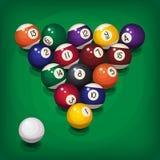 Billiardballson den gröna tabellen stock illustrationer