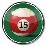 Billiardboll nummer 15 Arkivbild