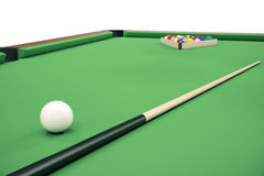 Billiardbollar för illustration 3D på den gröna tabellen med billiardstickrepliken, snooker, pöllek, Billiardbegrepp Royaltyfria Bilder