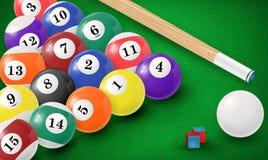 Billiardbollar i en pöltabell vektor Fotografering för Bildbyråer