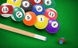 Billiardbollar i en pöltabell vektor Arkivbilder