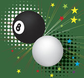 Billiardbollar i handling Arkivfoto