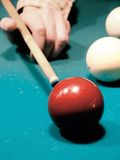 Billiarde. Billiardkugeln. Die Billiardtabelle. Stockfoto