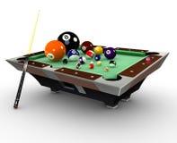 Billiarde pooltable mit Kugeln, Kreide und cuestick lizenzfreie abbildung