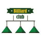 Billiardklubbaemblem i plan stil Arkivbilder