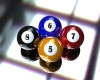 Billiardkugel mit 4 Pools Stockbild