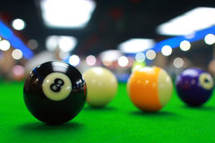 Billiards. Balls on billiard table royalty free stock image