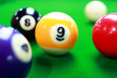 Billiards. Balls on billiard table Stock Photo