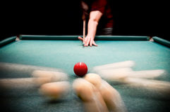 Billiards. Man plays billiards. The moment of breakdown of spheres Stock Photos