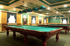 Billiards. Interior of the club to play billiards royalty free stock photo