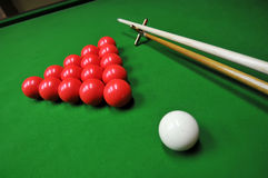 Billiards. 15-Ball rack of billiard balls on the desk Stock Photography