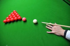 Billiards. 15-Ball rack of billiard balls on the desk Royalty Free Stock Photography