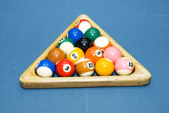 Billiards. Ball on the blue table Stock Images