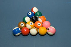 Billiards. Ball on the blue table Stock Photo