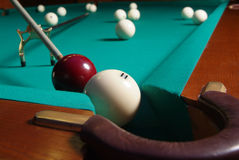 Billiards. Blow variant in the American billiards Stock Photography