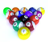 Billiards Balls. Colorful billiards balls isolated on white background Stock Photo