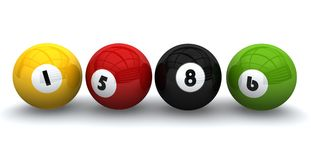 Billiards balls. On a white background Stock Photos