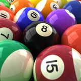 Billiards balls. 3d computer generated image closeup of colorful billiards balls eight ball detail royalty free stock photography