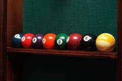 Billiards balls. On the shelf Stock Image