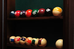 Billiards balls. On the shelf royalty free stock photo