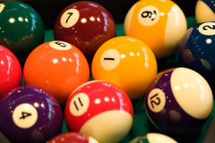 Billiards balls. Color billiards balls on a table . close-up image royalty free stock image