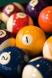 Billiards balls. Color billiards balls on a table . close-up Stock Photos