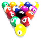 Billiards Balls. Colorful billiards balls isolated on white background royalty free stock photos
