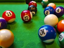 Billiards balls. On a green field number Royalty Free Stock Photo