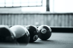Billiards balls. In black and white Royalty Free Stock Images