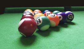 Billiards balls on green Royalty Free Stock Photos