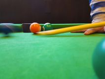 Billiards balls on green Stock Photo