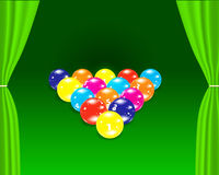 Billiards balls on the green table Stock Photo