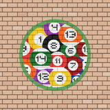 Billiards balls illustration in brick wall Stock Image