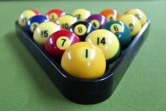 Racked pool balls stock photos